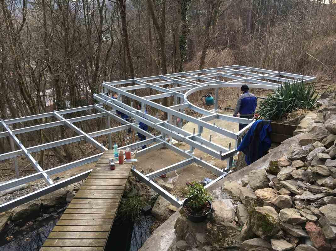 Stahl-Unterkonstruktion Terrasse verzinkt, Überlager Stahl